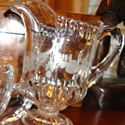 Vintage Etched Glass Pitcher Creamer