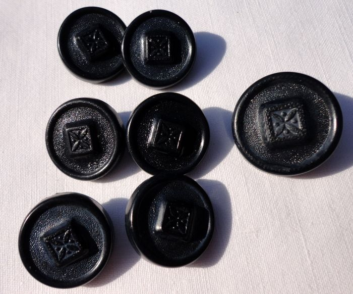 Vintage Set Of Seven Black Buttons