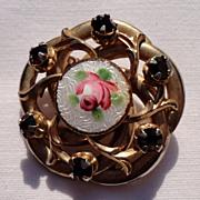 Vintage Gold Tone Metal Hand Painted Rose Rhinestone Brooch