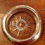 Vintage Leonard Clear Crystal Silverplate Rim Coaster
