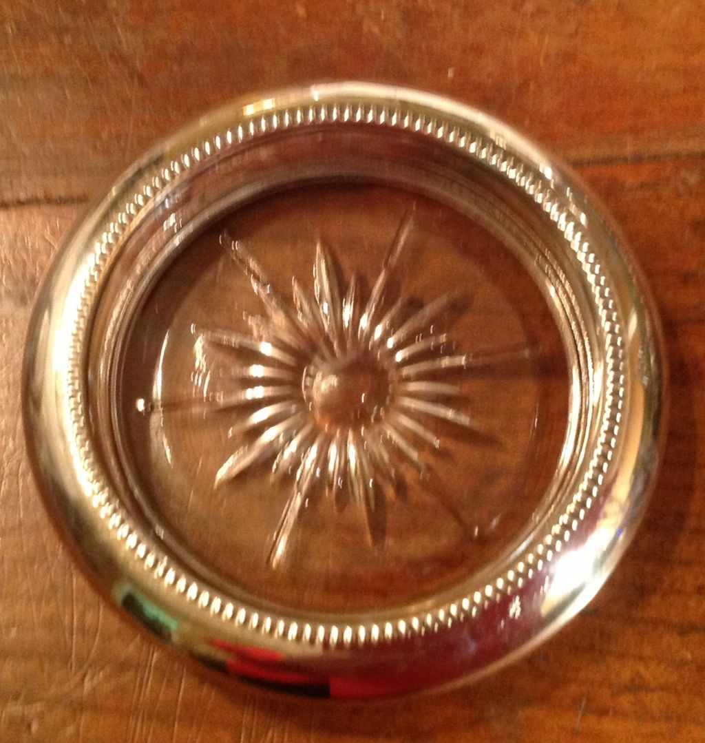 Vintage Leonard Clear Crystal Silverplate Rim Coaster