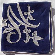 Vintage Navy Blue Ladies Hankerchief