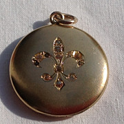 Victorian Gold Filled Paste Rhinestone Fleur D Lis Motif Locket
