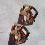 Vintage Gold Tone Metal Equestrian Horse Head Cuff Links