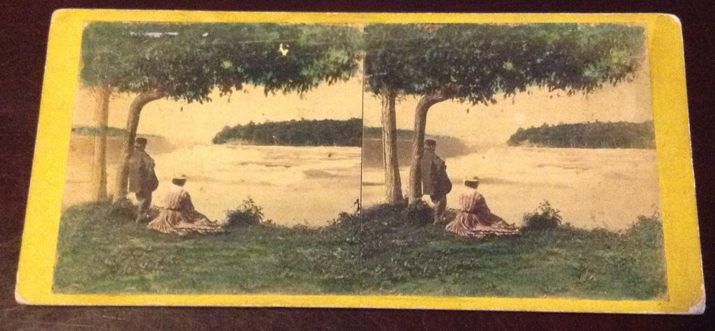 Antique 1868 Stereophotography Stereoview Card The American Fall From Luna Island