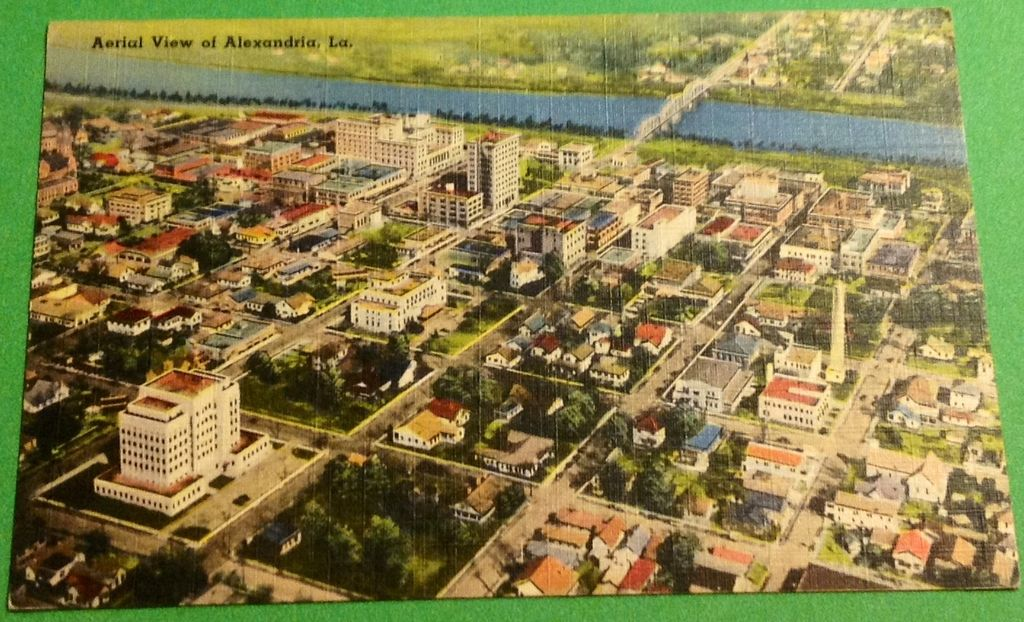 Vintage Aerial View Of Alexandria Louisiana Postcard