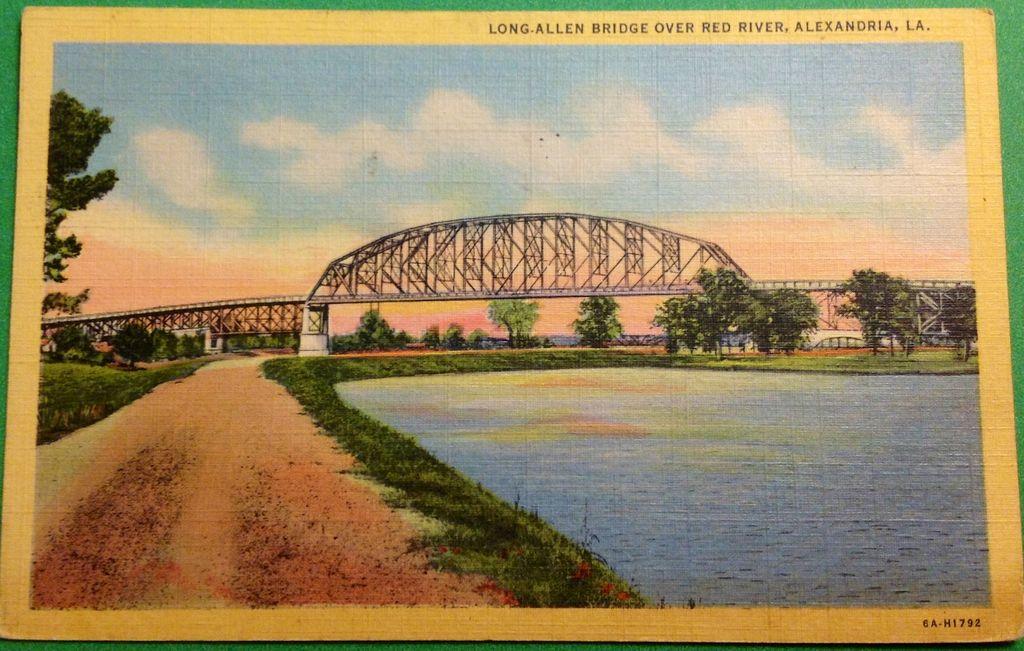 Vintage 1943 Long-Allen Bridge Over Red River Alexandria Louisiana Postcard