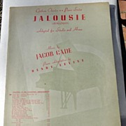 1944 Vintage Sheet Music Jalousie (Jealousy)