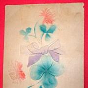 1907 Antique Embossed Four Leaf Clover Postcard