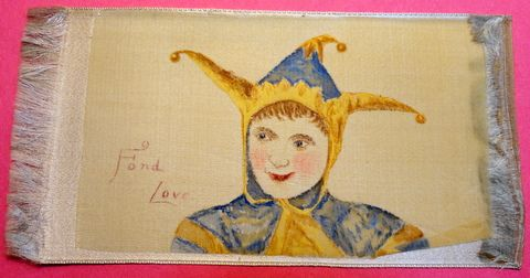 Vintage Hand Painted Fond Love Court Jester Silk Bookmark