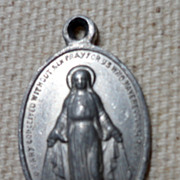 Vintage Silver Tone Metal Immaculate Conception Medal Charm