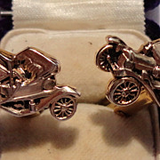 Vintage Gold Tone Metal Old Automobile Cuff Links