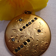 Large Vintage Gold Filled Paste Rhinestone Double Photo Locket