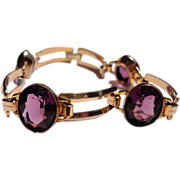 Great Vintage 10K Gold Filled Amethyst Colored Faceted Glass Flexible Link Bracelet