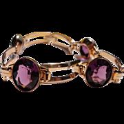 Great Vintage 10K Gold Filled Amethyst Colored Faceted Glass Flexible Link Bracelet