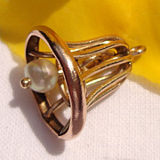 Vintage Gold Filled Faux Pearl Wedding Bell Charm