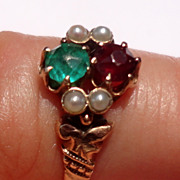 Victorian 14K Gold Ruby Red  Emerald Green Seed Pearl Ring