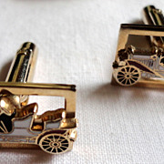 Vintage Shiels Gold Tone Metal & Enamel Roadster Cuff Links & Tie Clasp