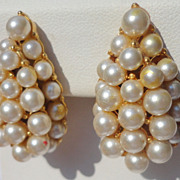 Vintage Faux Pearl Pear Shape Clip Earrings