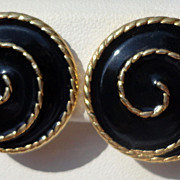 Vintage Gold Tone Metal Black Enamel Clip Earrings