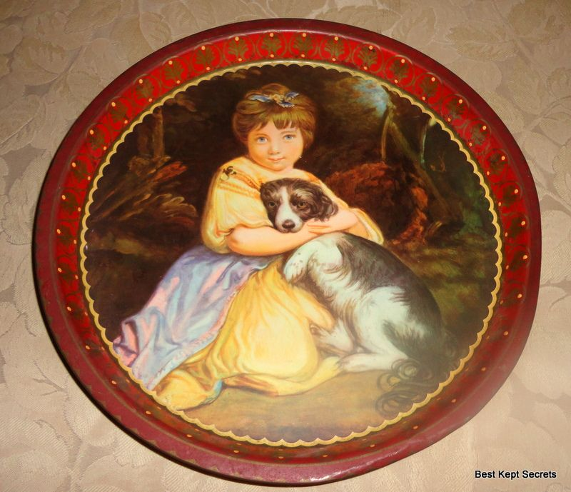 Wonderful Vintage Girl & Puppy Tin Tray