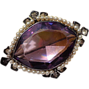 Victorian Sterling Silver  Faceted r Amethyst Glass Clean Rhinestone Seed Pearl Brooch