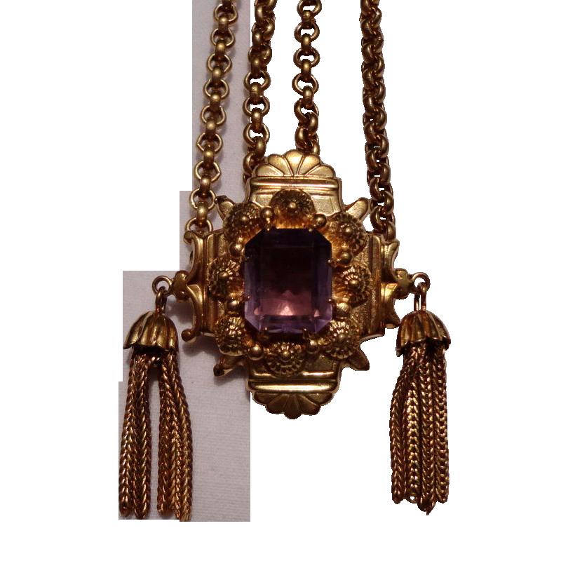 Vintage Gold Tone Metal Amethyst Slide Tassel Necklace
