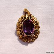 Vintage Gold Filled Faux Amethyst Pendant
