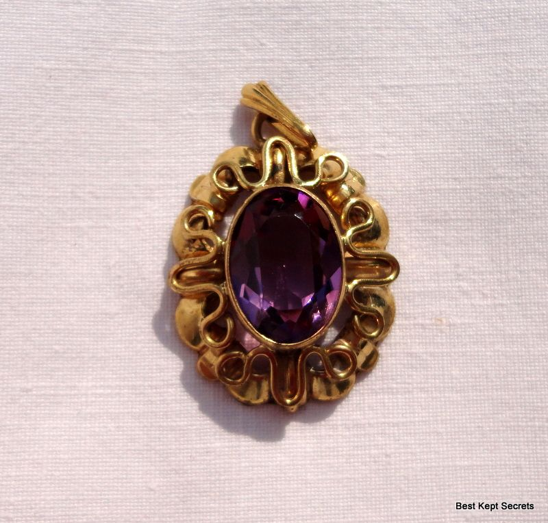 Vintage gold filled faux amethyst pendant from bestkeptsecrets on vintage gold filled faux amethyst pendant mozeypictures Image collections