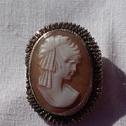 Vintage 800 Silver Cameo Brooch Pendant