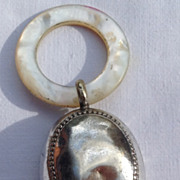 Victorian Silver On Copper MOP Teething Ring