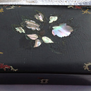 Antique Victorian Papier Mache Jewelry Box With Alabone Inlay