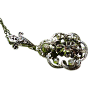 Georgian Sterling Silver Rose Cut Diamond Pendant