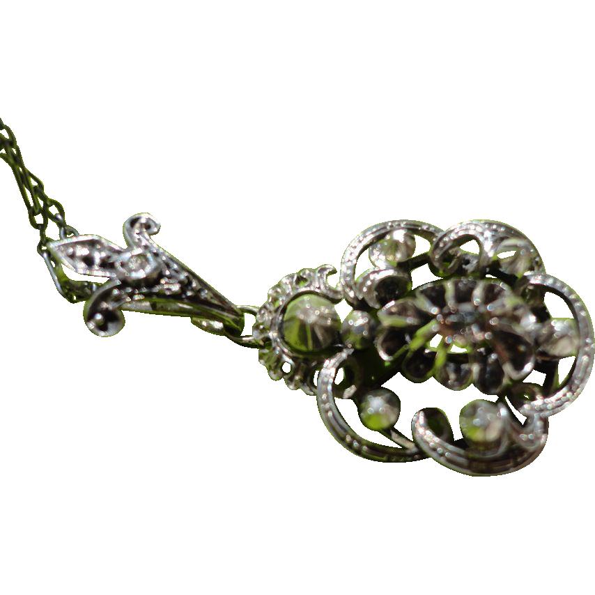 Georgian Sterling Silver Rose Cut Diamond Pendant