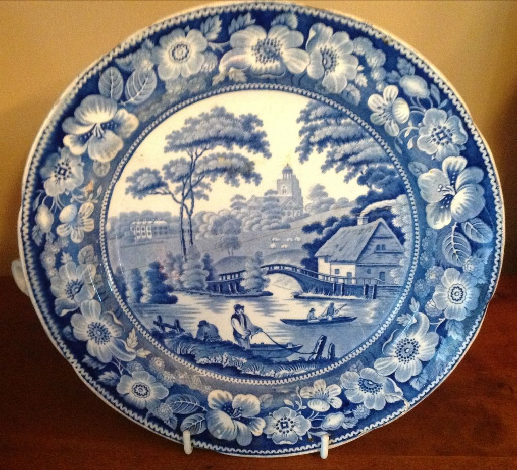 Antique Blue amp White Wild Rose Warming Dish From