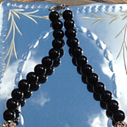 Vintage Estate 12 MM Black Glass Rhinestone Necklace