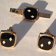 Vintage Silver Tone Black Lucite Diamond Rhinestone Cuff  Links & Tie Bar Set