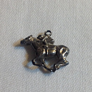 Vintage Sterling Silver  3D Horse & Jockey Charm