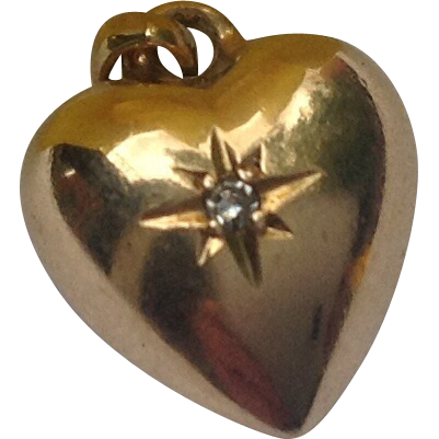 Vintage 14K Gold Diamond Puffy Heart Charm Pendant
