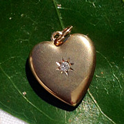 Vintage 10K Gold Diamond Heart Pendant Charm