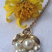 Vintage 12K Gold Faux Pearl Pendant Drop