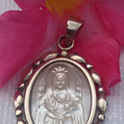 Vintage Sterling Silver MOP Virgin Mary Medal