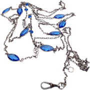 Antique Victorian Sapphire Blue Crystal Paste Sautoir/Muff/Lorgnette Chain