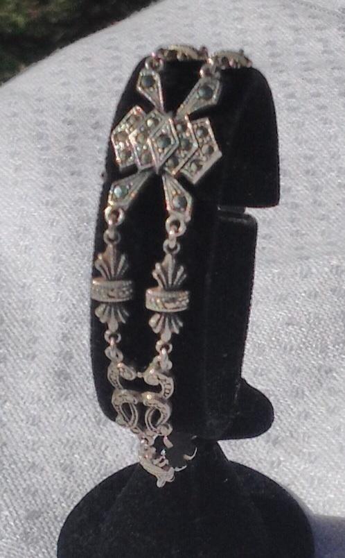 Art Deco Sterling Silver Marcasite Flexible Link Bracelet