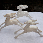 Set Of Three Vintage  Rudolph Reindeer Figures