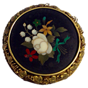Antique Victorian 18K Gold Pietra Dura Brooch