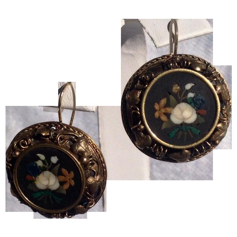 Antique Victorian 18K Gold Pietra Dura Earrings
