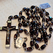 Vintage Lourdes Reliquary  Silver Tone Metal Art Glass Rosary
