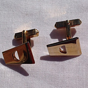 Vintage Gold Tone Metal Cuff Links