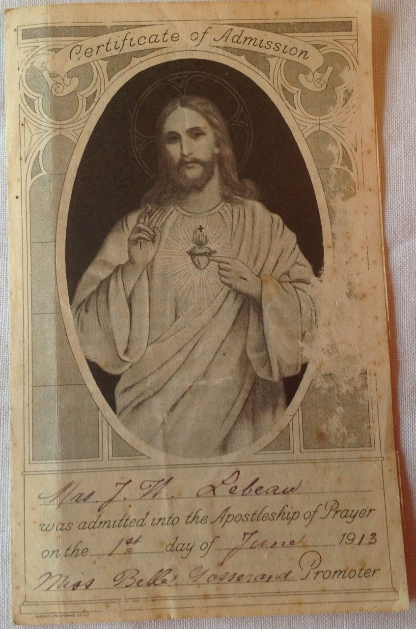 1913 Catholic Apostleship Of Prayer Certificate Of Admission